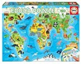 Educa- Mapamundi Animales Puzzle Infantil de 150 Piezas, a Partir de 6 años (18115)