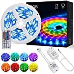 Tiras LED OUSFOT Tira LED RGB 5M 5050 con Control Remoto de 44 Claves 150 LEDs 20 Colores 6 Modos de Brillo y Adaptador de Alimentación 2A Receptor 12V