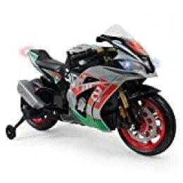 INJUSA – Moto Racing Aprilia 12V con Licencia Oficial de Marca con Luces y Sonidos y Acelerador en Puño Recomendada a Niños +3 Años