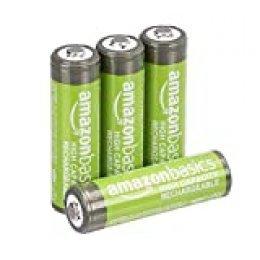 AmazonBasics - Pilas AA recargables de alta capacidad, precargadas, paquete de 4 (el aspecto puede variar)