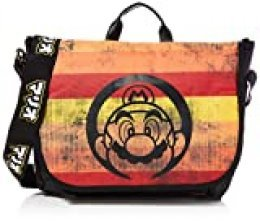 Nintendo Super Mario Bros. - Distressed Retro Striped Messenger Bag, Unisex adulto, Multicolor (Multicolour)