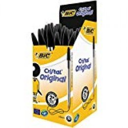 BIC Cristal Original - Caja de 50 unidades, bolígrafos punta media (1,0 mm), color negro