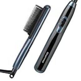 Plancha de pelo profesional 2 en 1 para hombres - Cepillo de calentamiento suavizante Peine de calentamiento antiarrugas y cerámico