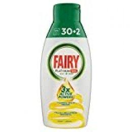 Fairy Platinum Gel Detergente Lavavajillas Todo en 1, Limón, 650 ml, 32 lavados