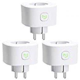 Enchufe Inteligente 16A 3680W, con Control Remoto Meross app, Compatible con Alexa, Google Assistant y SmartThings, Wi-Fi Smart Plug, MSS210. Paquete de 3