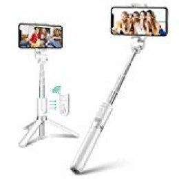 Palo Selfie Trípode con Control Remoto para iPhone Android Samsung Galaxy de 3.5-6 Pulgadas - BlitzWolf 3 en 1 Monópode Extensible Mini Selfie Stick Bolsillo Inalámbrico 360°Rotación(Blanco)