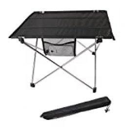 Mesa de Camping Plegable Ultra-Ligera, aleación de Aluminio, portátil para Barbacoa/Camping/Picnic/Viaje/Pesca, Aluminio, Plateado, Talla única