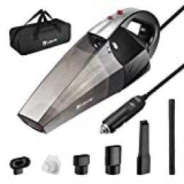 isYoung Aspirador de Coche 12V 6000PA Aspiradora de Mano Portátil Aspirador Potente con Bolsa Uso Seco y Húmedo Fácil y Ligera 120W 600ml Depósito con 2 Filtros Lavables Cepillo y 4.5M Cable