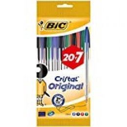 BIC Cristal Original - Bolígrafos punta media, 1.0 mm, Blíster de 20+7, colores Surtidos