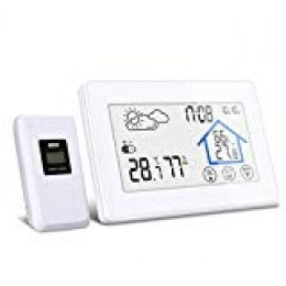 DIGOO Estación Meteorológica con Sensor Inalámbrico al Aire Libre, Higrómetro Digital DG-TH8380 con Botón Táctil, Monitor de Temperatura y Humedad