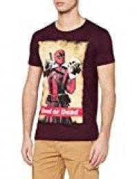 Deadpool T-Shirt Camiseta, Burdeos, M para Hombre