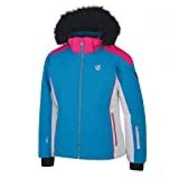 Dare2b Vast Waterproof & Breathable High Loft Insulated Ski & Snowboard Jacket with Snowskirt and Faux Fur Hood Jackets Waterproof, Niñas, Cyber Pink/Fuchsia Pink, 9-10