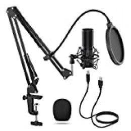 TONOR Micrófono de Condensador USB Micro Grabación Patrón Polar Cardioide para Grabar Música y Video Podcast Transmisión en Vivo Juegos Chat Soporte de Brazo