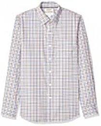 Marca Amazon - Goodthreads - Camisa cómoda de popelín elástico con manga larga, corte entallado, y de cuidado fácil, para hombre, Blue Yellow Multi Check, US XS (EU XS)