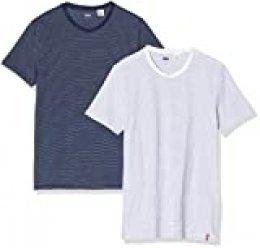 Levi's Slim 2pk Crewneck 1 Camiseta, Multicolor (2 Pack White + Blue Y/D/Blue + White Y/D Staple Stripe 0005), Medium (Pack de 2) para Hombre