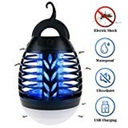 IREGRO Lámpara Antimosquitos Linterna de Camping UV Mata Mosquitos Electrico Mosquitos Killer Lamp Mosquitos 2 en 1 Batería Recargable Lámpara Camping Versátil Pórtatil para Patios,Jardin,Exterior