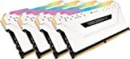 Corsair Vengeance RGB Pro - Kit de Memoria Entusiasta 32 GB (4 x 8 GB), DDR4, 3000 MHz, C15, XMP 2.0, Iluminación LED RGB, Blanco