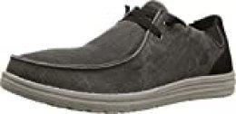 Skechers Melson Raymon, Zapatillas para Hombre, Negro (Black Canvas Black), 46 EU