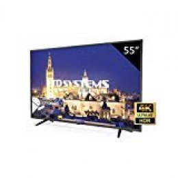 TD Systems K55DLY8US - Televisor Led 55 Pulgadas Ultra HD 4K Smart, resolución 3840 x 2160, HDR10, 3X HDMI, VGA, 2X USB, Smart TV.