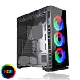 Game Max Spectrum PC Gaming Case Mid-Tower ATX, 3 x 120 mm Halo Single Ring Spectrum Ventiladores incluidos, Tempered Glass, RGB Hub, RF Remote Controller, Water-Cooling Ready, Game with Style Black