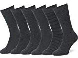 Easton Marlowe 6 PR Calcetines Sutilmente Estampados Hombre - 6pk #4-7, gris carbón - 43-46 talla de calzado UE