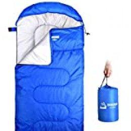 DINOKA Saco De Dormir para Acampar - Bolsa de Dormir 3 Estaciones Clima Cálido y Fresco,Ligero, Impermeable para Adultos y Niños - para Equipo De Campamento, Viajes y Actividades Al Aire Libre