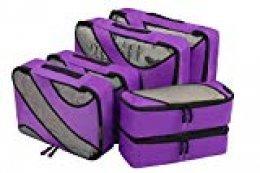 Eono Essentials 6 Set Cubos de embalaje, 3 tamaños diferentes Equipaje de viaje Organizadores de embalaje Púrpura