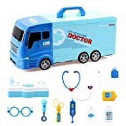 BeebeeRun Camión de Juguete 21 Piezas Coche de Rescate con Diversos Equipos médicos, Camiones de Juguetes para niños Camión Transportador Educativo Juguete para Niños