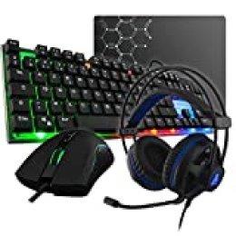 The G-Lab Combo Gallium E-Pack Gaming 4 en 1 - Teclado Gaming QWERTY – Incluye Ñ-Retroiluminado, Ratón Gaming de 2400 dpi, Auriculares Gaming, Alfombrilla de Ratón Antideslizante – PC PS4 Xbox One