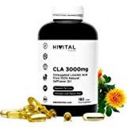CLA Ácido Linoleico Conjugado 3000 mg por dosis | 180 perlas de Aceite Vegetal de Cártamo (Suministro para 2 meses) | Para Perder peso, Aumentar la musculatura, Quemar grasa y Adelgazar.