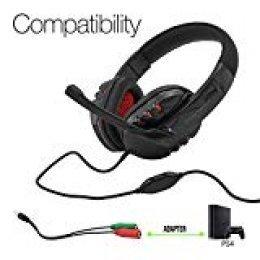 Woxter Stinger FX 80 H - Auriculares Gaming 2.0 con Micrófono para PS4 - PC - Xbox One - Switch..., reducción de ruido, diadema ajustable, micrófono Omnidireccional y adaptador 2 en 1 incluido