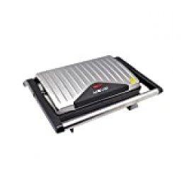 MUVIP Sandwichera INOX Grill (Potencia 750W, Placas Antiadherentes Tipo Grill, Placa Superior Basculante, Asa Tacto frío, Presión Uniforme, Acabado INOX, Limpieza Fácil) – Gris
