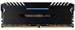 Corsair Vengeance LED - Kit de Memoria Entusiasta de 32 GB (4 x 8 GB, DDR4, 3200 MHz, C16, XMP 2.0) Negro con Azul LED iluminación