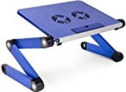 KEREITH Soporte portátil y Ajustable de Aluminio para portátiles, Notebooks y Macbooks con Ventiladores para CPU, de Peso Ultraligero, ergonómico, Bandeja para la Cama, posición parado o Sentado