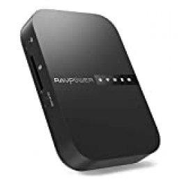 RAVPOWER FileHub Router WiFi Portátil, Nube Personal Compartir Datos sin PC (Tarjeta SD│Disco Duro Inalámbrico│Pendrive USB) Batería Externa 6700mAh, Copia SD con un Clic, Repetidor WiFi Versión 2019