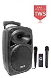 DYNASONIC - Dynapro8 TWS - Altavoz Inalámbrico Sistema Audio Profesional Megafonia Portátil | Tecnología TWS Lector USB Bluetooth Radio FM y Micrófonos, Color Negro 8 Pulgadas …