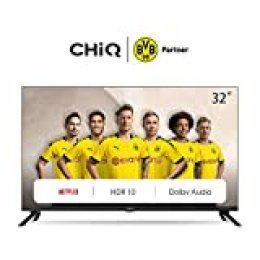 "CHiQ L32H7N - Smart TV LED de 32"" con Resolución HD, HDR, Sintonizador Triple (DVBT / T2 / C / S2), Dolby Audio, Bluetooth, WiFi, Netflix, Prime Video, Youtube, 2 x HDMI, 1 x USB, Frameless Design"