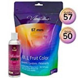 """Amor Vibratissimo®""""MiTalla FRUIT COLOR 57mm"""" 50 pack preservativos + 250ml lube, condones para una sensación auténtica"""