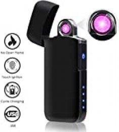 NASUM Encendedor Eléctrico, Encendedor a Prueba de Viento para Carga USB, Pantalla de Batería, Chip Inteligente, para Cigarrillos, Barbacoa, Chimenea, Camping (Hielo Negro)