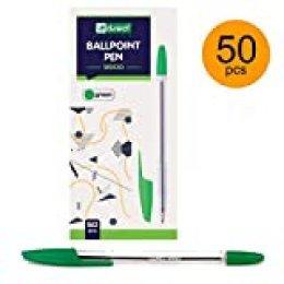 D.RECT 9900 - Bolígrafo de punta redonda (50 unidades), color verde