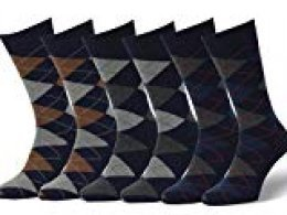 Easton Marlowe 6 PR Calcetines Estampados Hombre Argyle - 6pk #2-10, argyle - azul, 43-46 EU shoe size