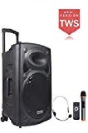 DYNASONIC - Dynapro 15 - Altavoz Inalámbrico Sistema Audio Profesional Megafonia Portátil | Lector USB Bluetooth Radio FM y Micrófonos, Color Negro (DYNAPRO 15)