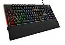 THE G-LAB Keyz Tellurium Teclado Gaming QWERTY Incluye Ñ - Teclado Gaming con Retroiluminación RGB Multicolor, Reposa Muñecas Magnético, 6 Teclas Macro y Anti-Ghosting - PC, PS4, Xbox One (Negro)