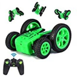 ThinkMax Stunt Car Radio Control, 2,4 GHz Coche Teledirigido 4WD Double-Sided Stunt RC Car Rotación 360 (Verde)