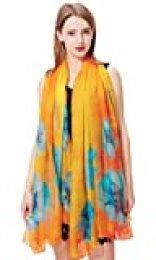 Voqeen Pareo Playa de Mujer Mantón de Gasa para Mujer Impresión Floral Bufanda Suave Cubiertas de Playa Ligeras de Uso múltiple Delgado Chal Bikini Coverups