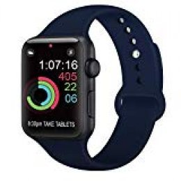AK Compatible con para Apple Watch Correa 42mm 38mm 44mm 40mm, Silicona Blanda Deporte Reemplazo Correas Compatible con para iWatch Series 4, Series 3, Series 2, Series 1 (03 Navy Blue, 42/44mm M/L)