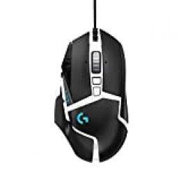 Logitech G502 HERO Ratón Gaming con Cable Alto Rendimiento, Sensor HERO16K, 16 000 DPI, RGB, Peso Personalizable, 11 Botones Programables, Memoria Integrada, PC/Mac - Versión Allemana - Blanco y Negro