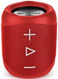 Sharp GX-BT180(RD) - Altavoz Bluetooth portátil 14 W estéreo, Bajos Profundos, hasta 10 Horas, Recargable, Impermeable IP56, micrófono para Llamadas, con Voice Assistant, Rojo