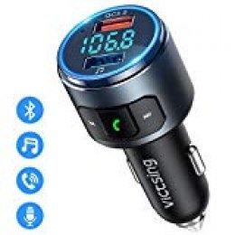 Transmisor FM Bluetooth 5.0 para Coche, [Luz LED Anillo] VicTsing Mini Transmisor Bluetooth Manos Libres con Siri Asistente de Voz, Reproductor MP3 Coche Carga QC3.0, Adaptador de Radio & Hi-Fi Música