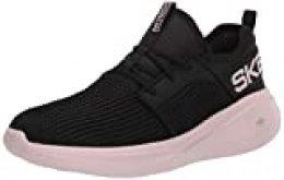 Skechers Women's GO Run Fast, Zapatillas para Mujer, Negro Negro Negro Textil Pink Trim Bkpk, 39.5 EU